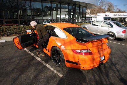 Ralph Lauren getting in his Porsche 997 GT3 RS