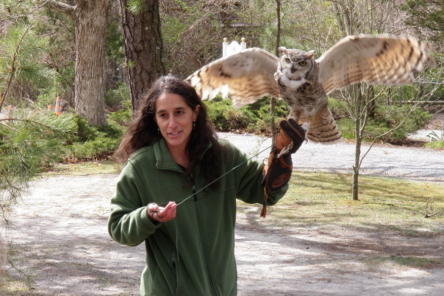Marisa Nelson and Hooter from Quogue Wildlife Refuge
