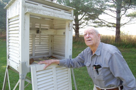 Richard Hendrickson at his weather station. Photo credit: Brendan J. O'Reilly