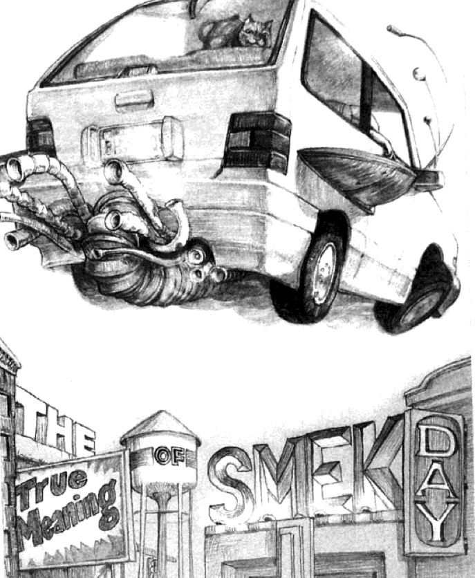 "Illustration from Adam Rex's original version of ""The True Meaning of Smekday,"""