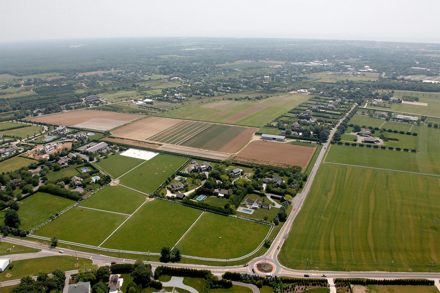Aerial view of Madonna's Land in Bridgehampton, pre-construction