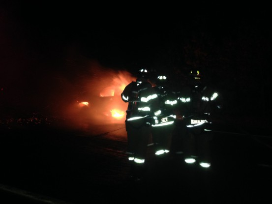 Southampton and Hampton Bays fire departments extinguished a vehicle fire on Sunrise Highway east of the Shinnecock Canal early Wednesday.