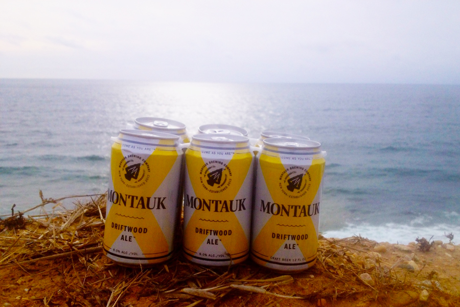 Montauk Driftwood Ale cans