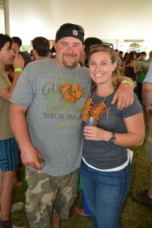 Sean Dougherty and Veronica Bickmeyer came prepared with pretzel necklaces.