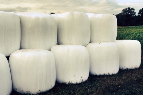 Giant marshmallows stacked for transport in New Jersey
