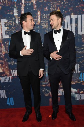 Jimmy Fallon, Justin Timberlake walk the red carpet at the SNL 40th Anniversary Special at 30 Rockefeller Plaza in New York, NY on February 15, 2015 --