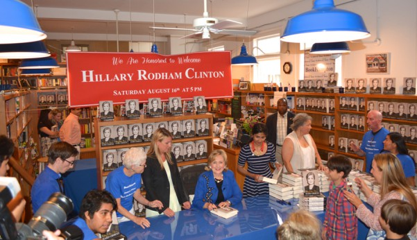 Hillary Clinton signs Hard Choices at BookHampton in East Hampton on August 16, 2014. Photo credit: Brendan J. O'Reilly