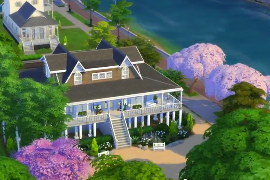 Emily Thorne's Hamptons Beach House from Revenge on The Sims 4, By BSimBuilder