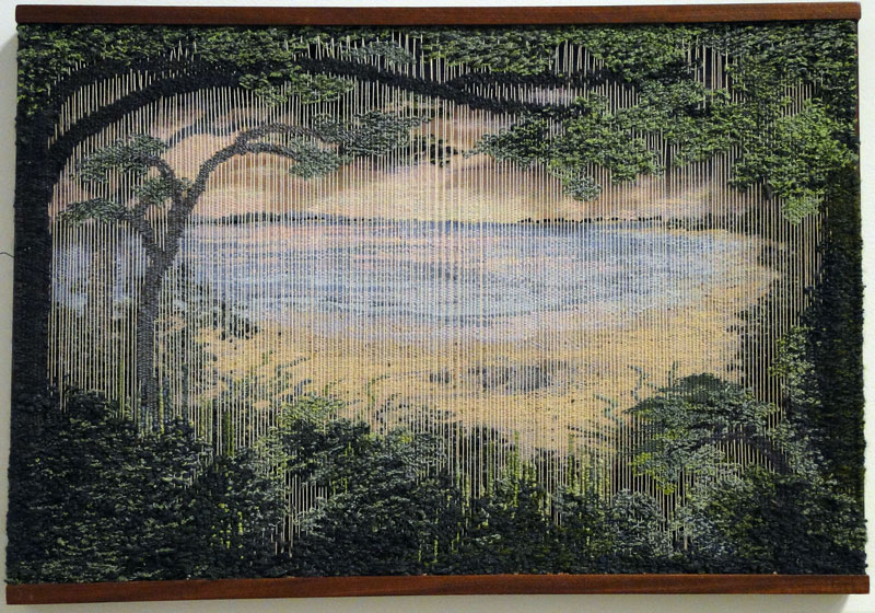 """Guild Hall Members Top Honors winner - Pamela B. Topham, Northwest Harbor, Early Light, Layered Tapestry, Silk and Wool, 15 x 24"""" Courtesy Guild Hall"""