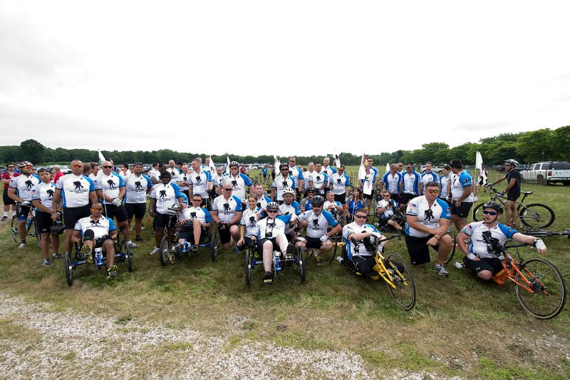 A group shot of the Wounded Warriors at the 2014 Soldier Ride the Hamptons.