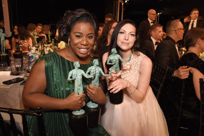 Uzo Aduba and Laura Prepon attend The 22nd Annual Screen Actors Guild Awards