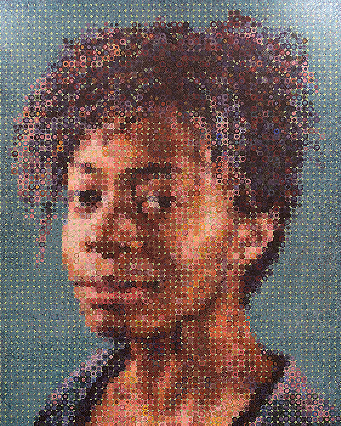 Chuck Close mosaic portrait of Kara Walker