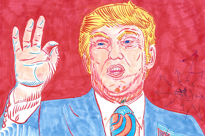 Lutha Leahy-Miller Paints Trump Portrait