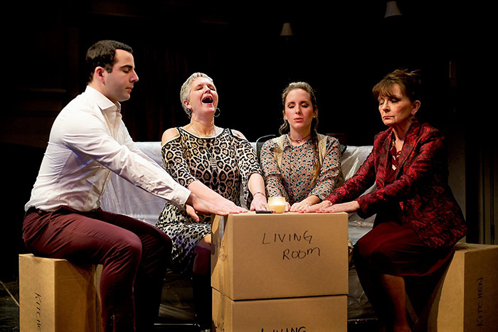 """Dylan Robert Poulos, Linda May, Jessica Contino and Marci Bing in """"I Hate Hamlet"""""""