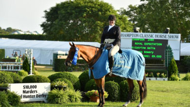 Bridgehampton's Laura Bowery and Royal Expectation won the Marders Hunter Local Hunter Derby on Opening Day of the Hampton Classic