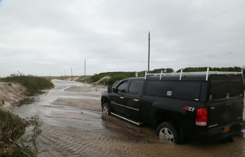 Truck stuck on Dune Road, Hampton Bays