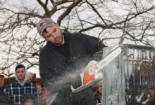 Ice Memories Inc., Long Island's most award-winning ice sculpture company, created numerous ice sculptures that adorned the streets of Sag Harbor for the festival. Pictured, founder of Ice Memories Inc. Rich Daly, takes to the ice