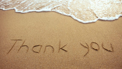 Thank you in the sand