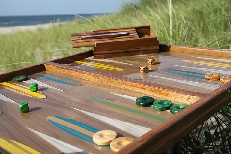 """Big Sur"" backgammon table by Studio Jean-Michel on the beach"