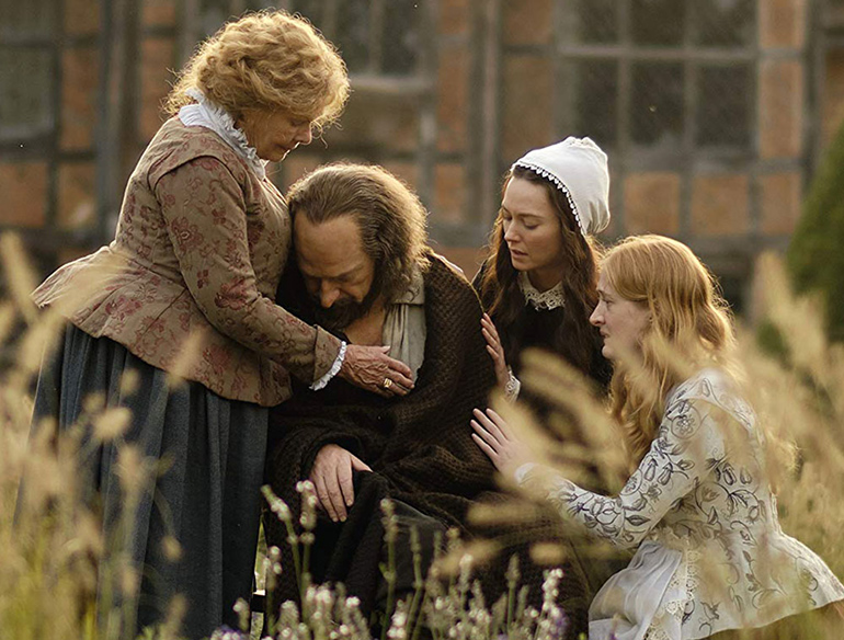 """Shakespeare is comforted by his wife Anne and daughters Judith and Susanna in """"All Is True"""""""