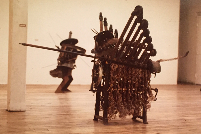 Battle's sculpture in his one-man show