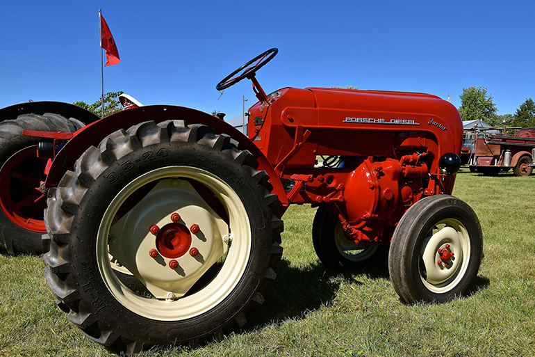 old, red tractor