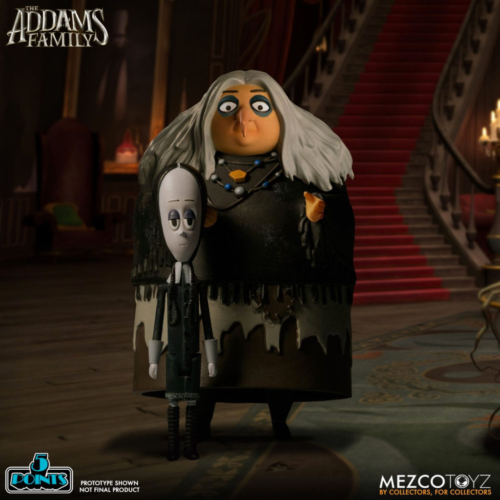 Wednesday and Grandma from Mezco's 5 Points The Addams Family action figure line
