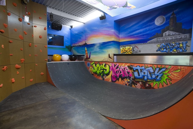Halfpipe and climbing wall at the Sandcastle