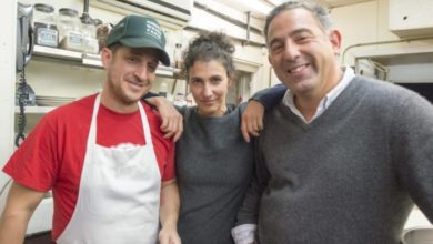 The Almond crew with chef Jason Weiner, the lovely Almond Zigmund and Eric Lemonides, in their Bridgehampton kitchen where culinary magic happens.