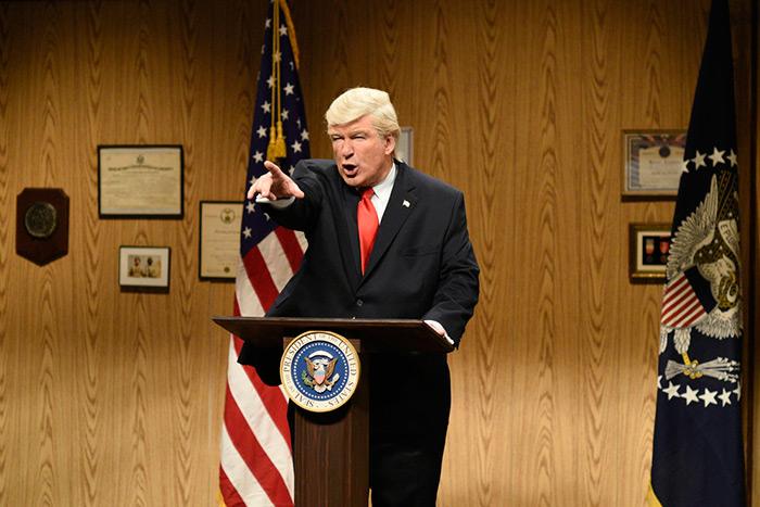 Alec Baldwin as Trump on the April 8 episode of SNL