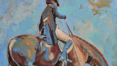 August 23, 2017 Dan's Papers cover art and 2017 Hampton Classic Horse Show poster art by Lynn Mara (detail)