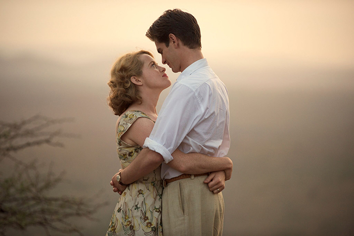 "Claire Foy and Andrew Garfield in Andy Serkis's directorial debut ""Breathe"""