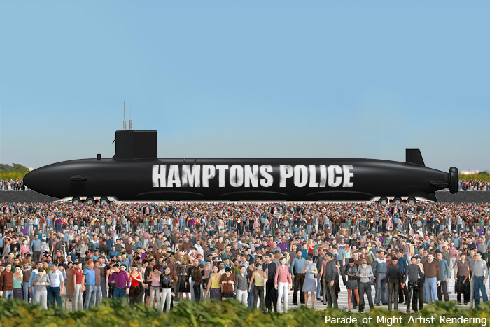 Artist Rendering: Hamptons Police Submarine in the Parade of Might