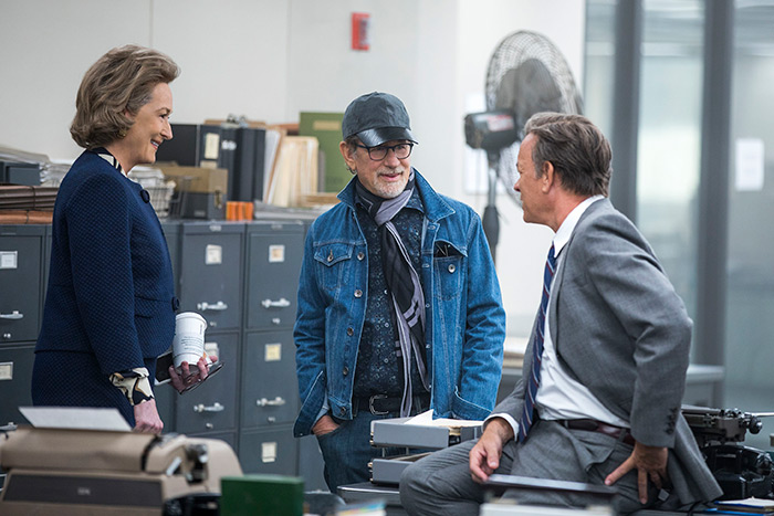 "Meryl Streep, Steven Spielberg and Tom Hanks filming ""The Post"""