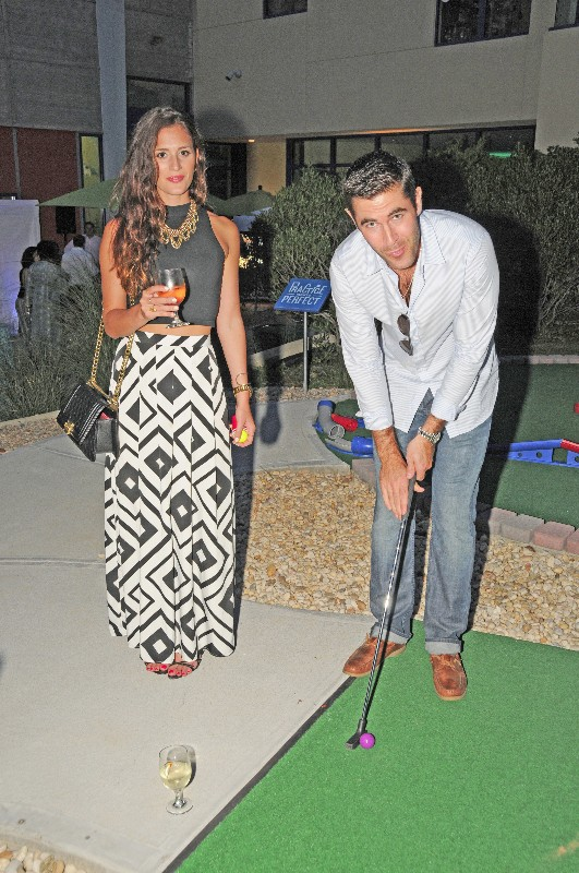 Megan Louden and Rob Schmitt (NBC 4) tried out CMEE's new mini-golf course