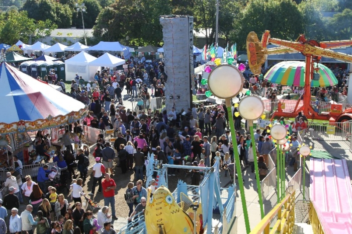 Bird's eye view of the carnival area of the San Gennaro Feast of the Hamptons.