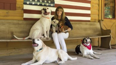 Jill Rappaport and five of her rescue dogs.