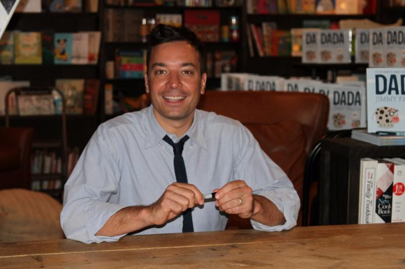 "Jimmy Fallon signs Your Babies First Words Will Be Dada"" at Harbor Books in Sag Harbor on June 20, 2015."