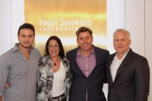 Nest Seekers founder and CEO Eddie Shapiro, Joanne Kane, Robert Canberg, Nest Seekers International Regional Manager for the Hamptons Geoff Gifkins