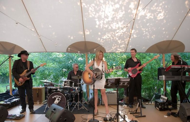 The SoFo Summer Gala's entertainment, the rocking Nancy Atlas Project with Johnny Blood on lead, Richard Rosch on drums, Nancy Atlas front and center with Brett King on bass and Neil Surreal on keyboard.