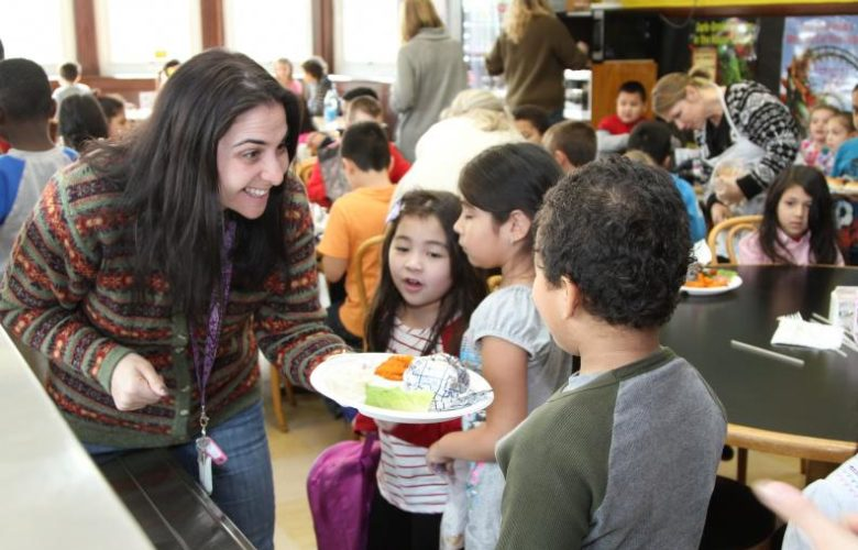 First grade teacher Nina Merkert was as excited as the kids were to try the new fish burger