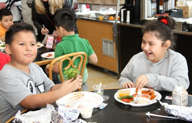 Students were all smiles as they dined on the Montauk Fishburger