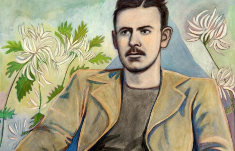 Painter Valerie Suter rendered a seated John Steinbeck as part of her body of work, portraits of literary personages, currently on exhibit at Estia's Little Kitchen.