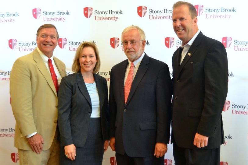 Stony Brook University President Dr. Samuel Stanley, Senator Kirsten Gillibrand, Congressman Tim Bishop and Long Island Association CEO Kevin Law.