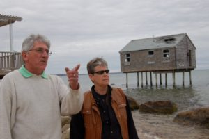 East Hampton Town Supervisor Larry Cantwell visits the Napeague-Lazy Point neighborhood with a resident of Mulford Lane, Amagansett.