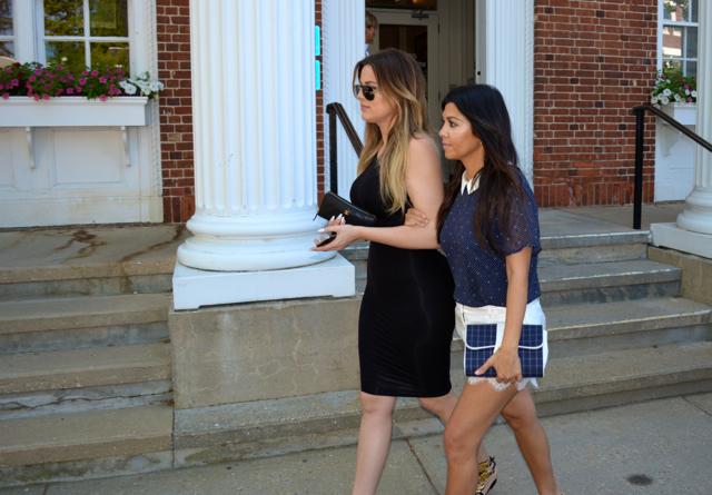 Khloé and Kourtney Kardashian leave Southampton Village Hall after their 4 p.m.