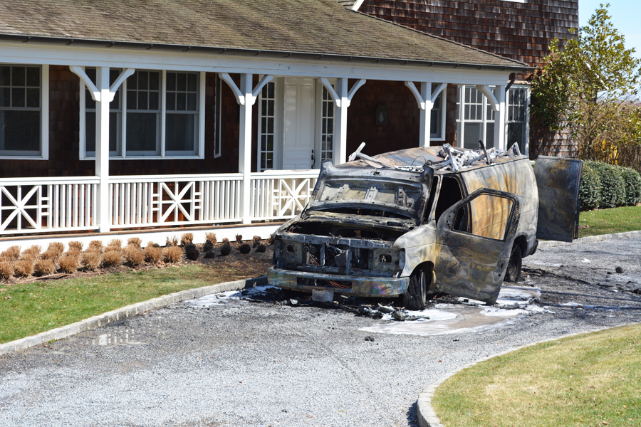 Flamed wrecked a van in Wainscott Wednesday afternoon, April 15.
