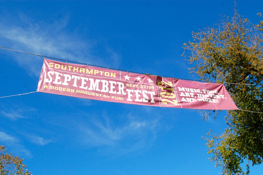 A Southampton SeptemberFest banner hangs over Main Street.