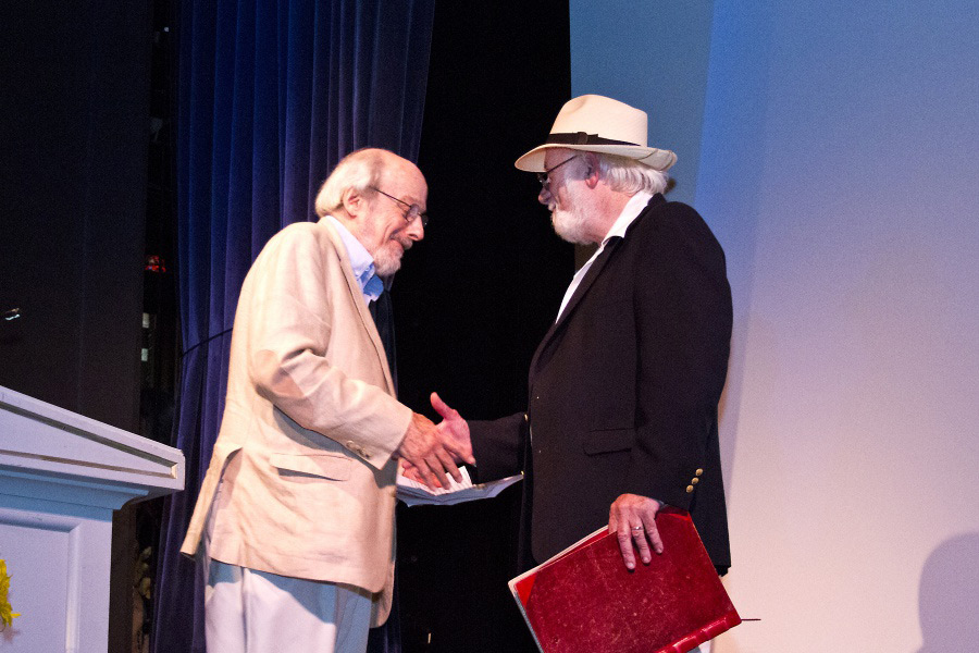 Dan and E.L. Doctorow at the 2013 Dan's Literary Prize ceremony