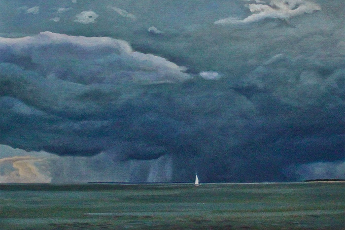 """""""Running Before the Storm"""" (detail) by Dan's Papers cover artist David Lyttleton Smith"""